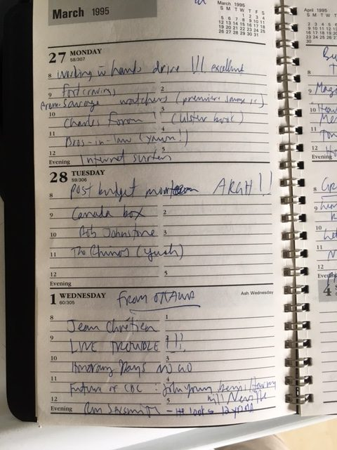 Daily diary from March 1995