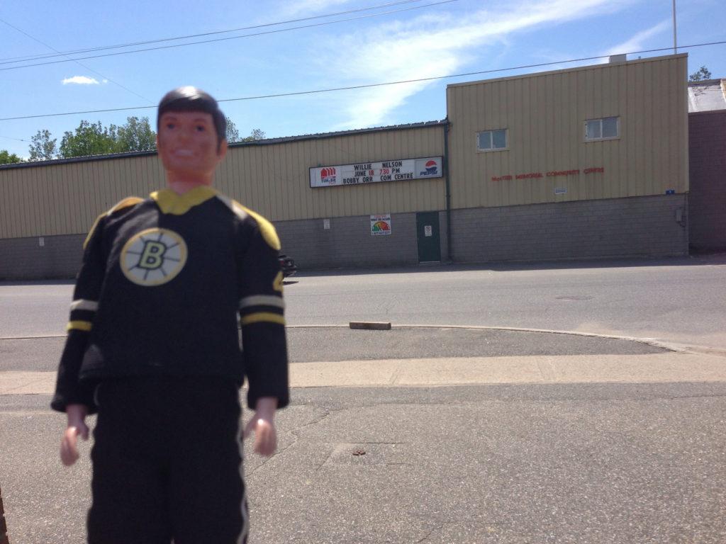 Bobby Orr doll outside MacTier Arena