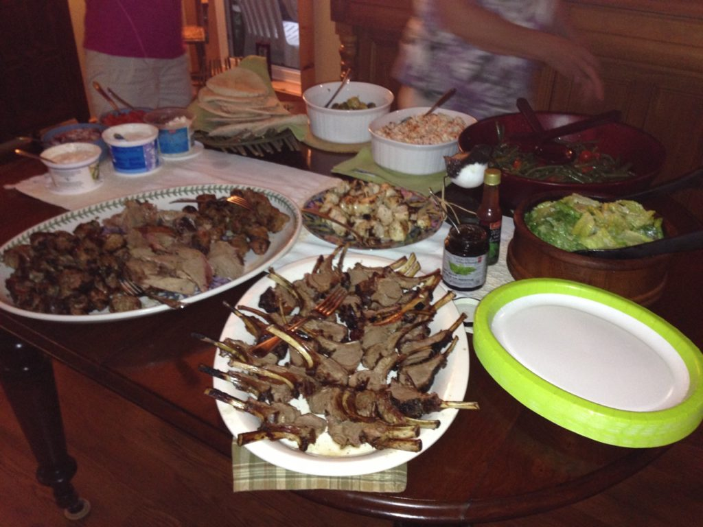 platters of lamb chops and lamb meat