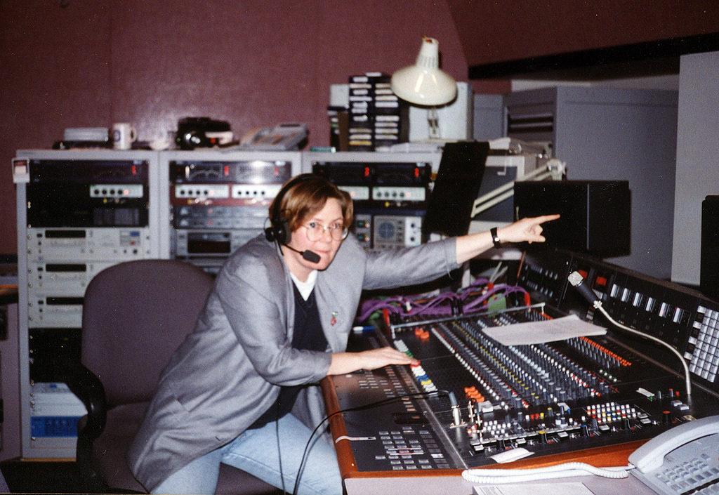 Audio technician at the audio board