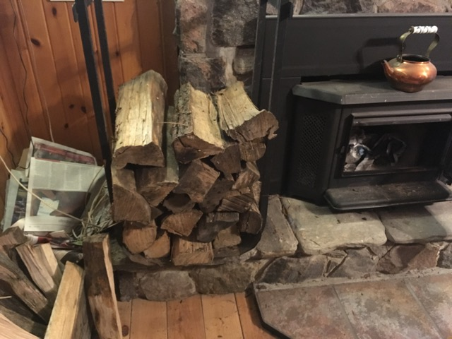 Wood and fireplace