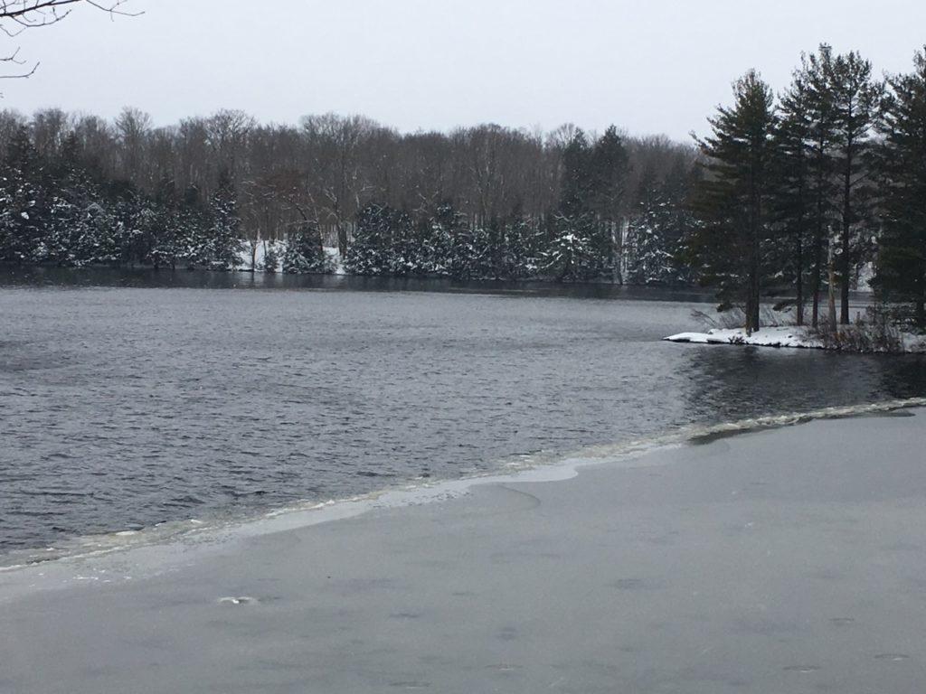 ice starting to build on lake