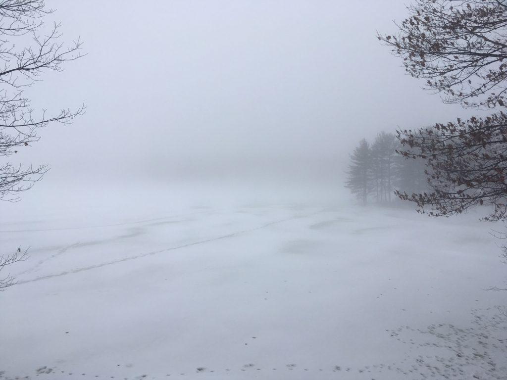 fog on a snowy lake