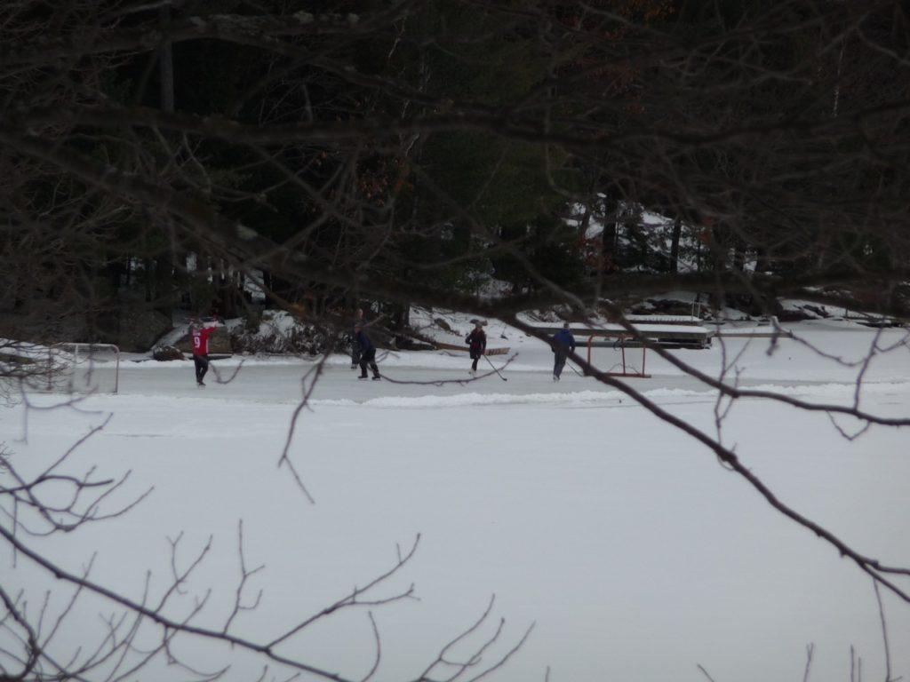 kids playing hockey on lake