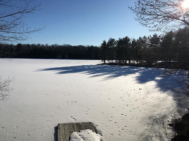Snow and shadows on lake