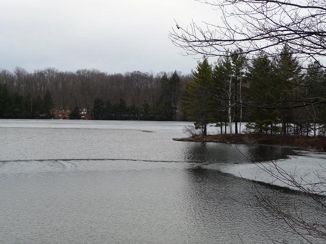 lake with melting ice