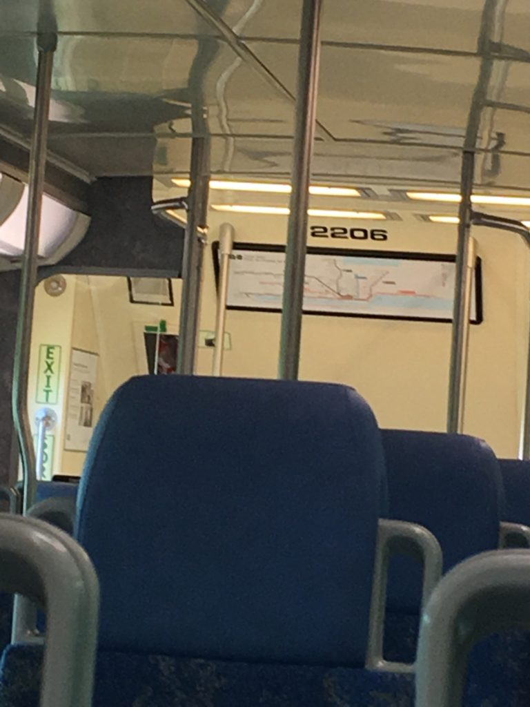 inside a commuter train