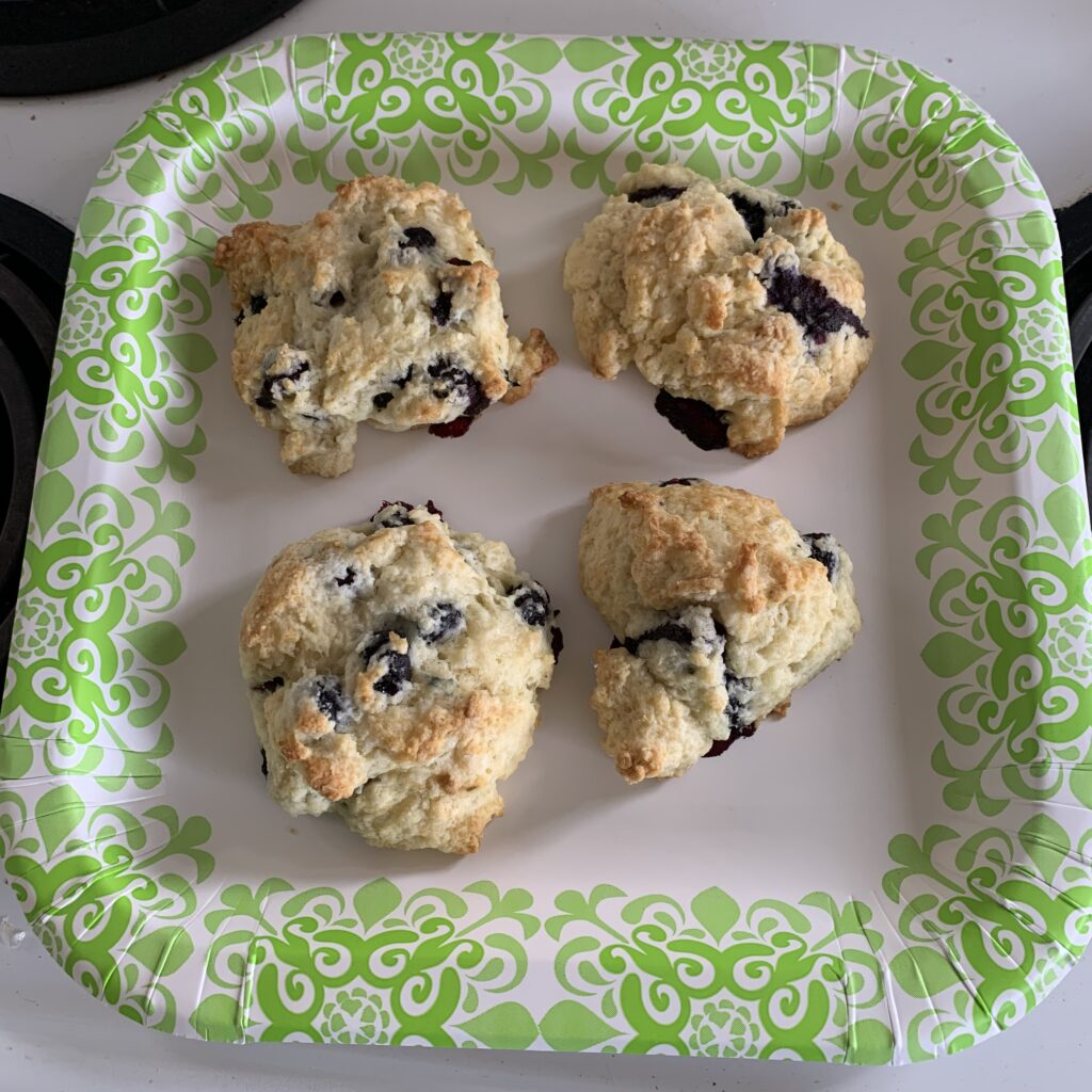 plate of blueberry scones