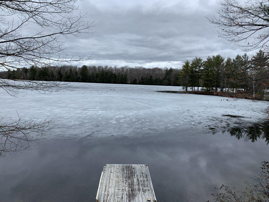 ice receding from dock