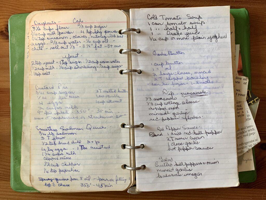 old hand written recipe book