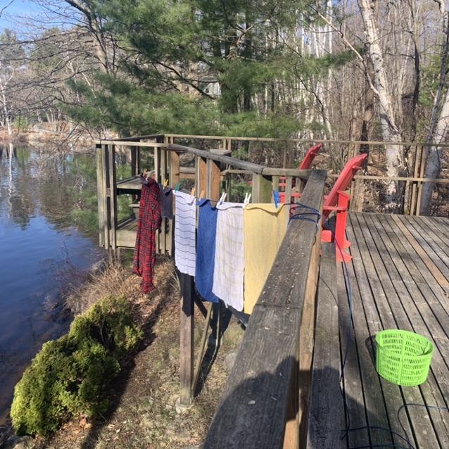 Clothes line On a deck