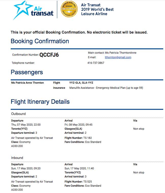 plane ticket to glasgow
