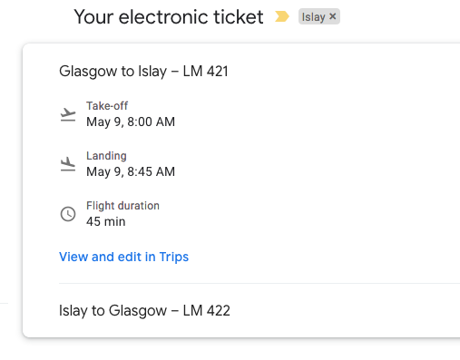 plane ticket to Islay