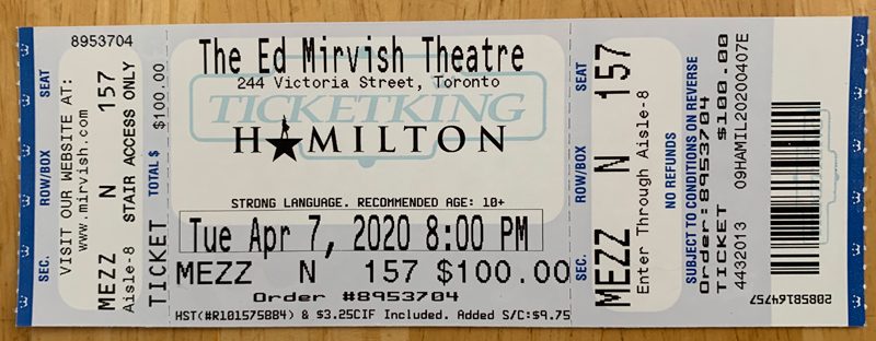 ticket for hamilton the musical